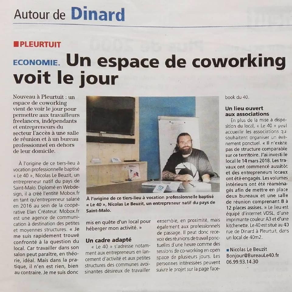 Article nouveau coworking à Dinard Pleurtuit